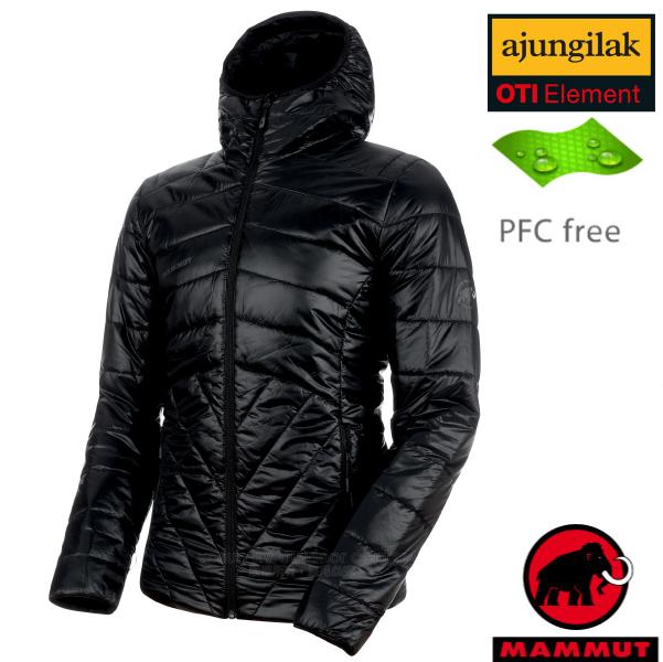 【瑞士 MAMMUT 長毛象】男新款 Rime Hooded IN Jacket 超輕量化纖保暖連帽外套.夾克(可機洗)/PFC-free無氟潑水/1013-00390-0001 黑