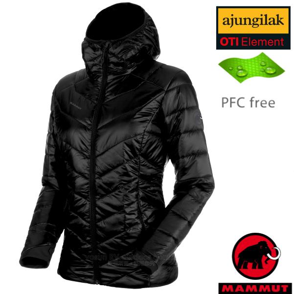 【瑞士 MAMMUT 長毛象】女新款 Rime Hooded IN Jacket 超輕量化纖保暖連帽外套.夾克(可機洗)/PFC-free無氟潑水/1013-00410-0001 黑
