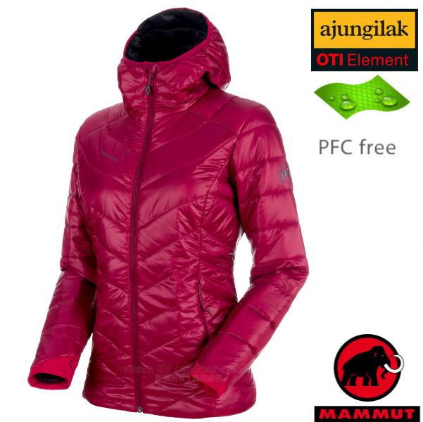 【瑞士 MAMMUT 長毛象】女新款 Rime Hooded IN Jacket 超輕量化纖保暖連帽外套.夾克(可機洗)/PFC-free無氟潑水/1013-00410-3510 甜菜根