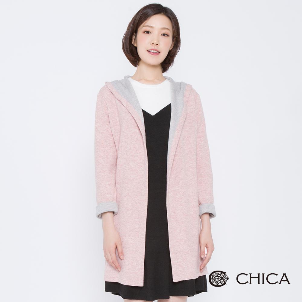 CHICA 冬日暖陽配色混紡連帽外套(2色)