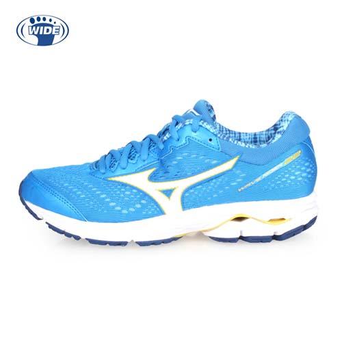 (女) MIZUNO WAVE RIDER 22 WIDE 慢跑鞋-路跑 寬楦 美津濃 藍白黃 24.5
