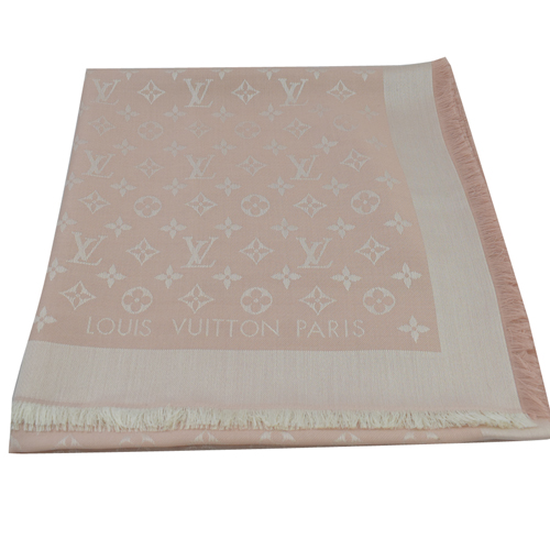 Louis Vuitton LV M72046 Monogram Denim 經典花紋羊毛絲綢披肩圍巾.粉_預購