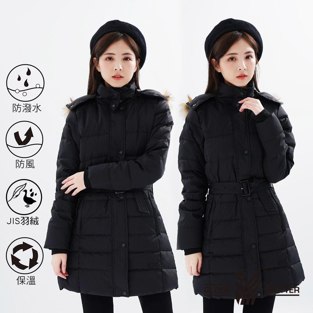 【遊遍天下】女款90%羽絨防風防潑水顯瘦長版可拆連帽外套GJ22012黑色