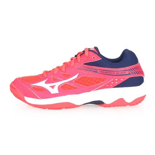 (女) MIZUNO THUDNER BLADE 排球鞋-訓練 排球 美津濃 螢光粉藍白