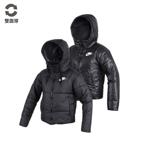 (女) NIKE 鋪棉外套-保暖 長袖外套 連帽外套 立領 雙面穿 黑白