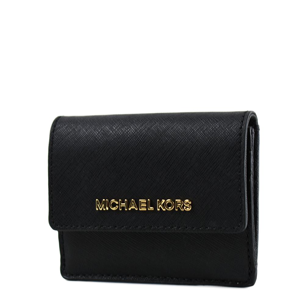 MICHAEL KORS 金字防刮皮革釦式證件/鑰匙零錢包-黑色