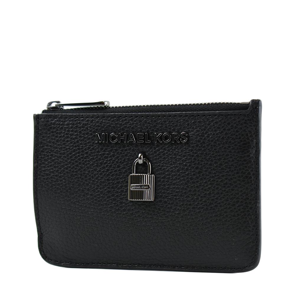 MICHAEL KORS 鎖頭裝飾荔枝紋拉鍊證件鑰匙零錢包-黑色
