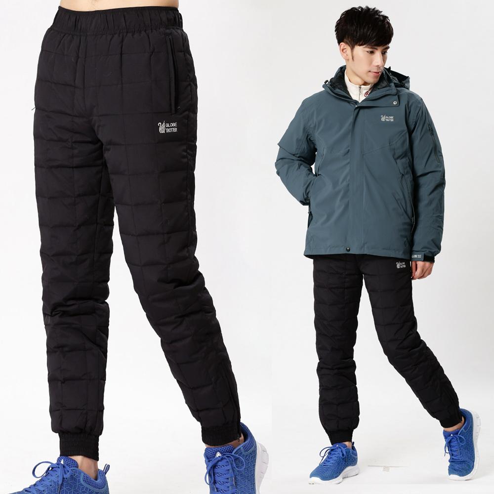 【遊遍天下】中性款JIS90%羽絨防風防潑水保暖羽絨褲P082黑色