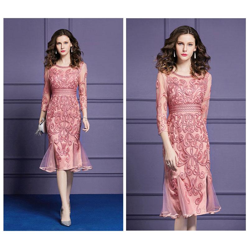 Olivia奧莉精品 合身顯瘦立體雕花魚尾裙洋裝 M~4XL 洋裝 連身裙 禮服 伴娘服 媽媽裝