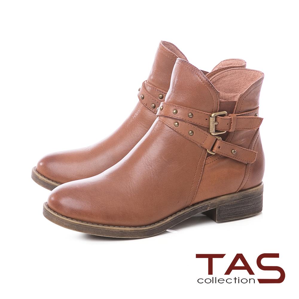 TAS仿舊擦色交疊皮帶扣牛皮粗跟短靴-復古棕