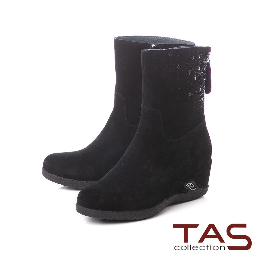 TAS星星鉚釘麂皮楔型厚底中筒靴–實搭黑