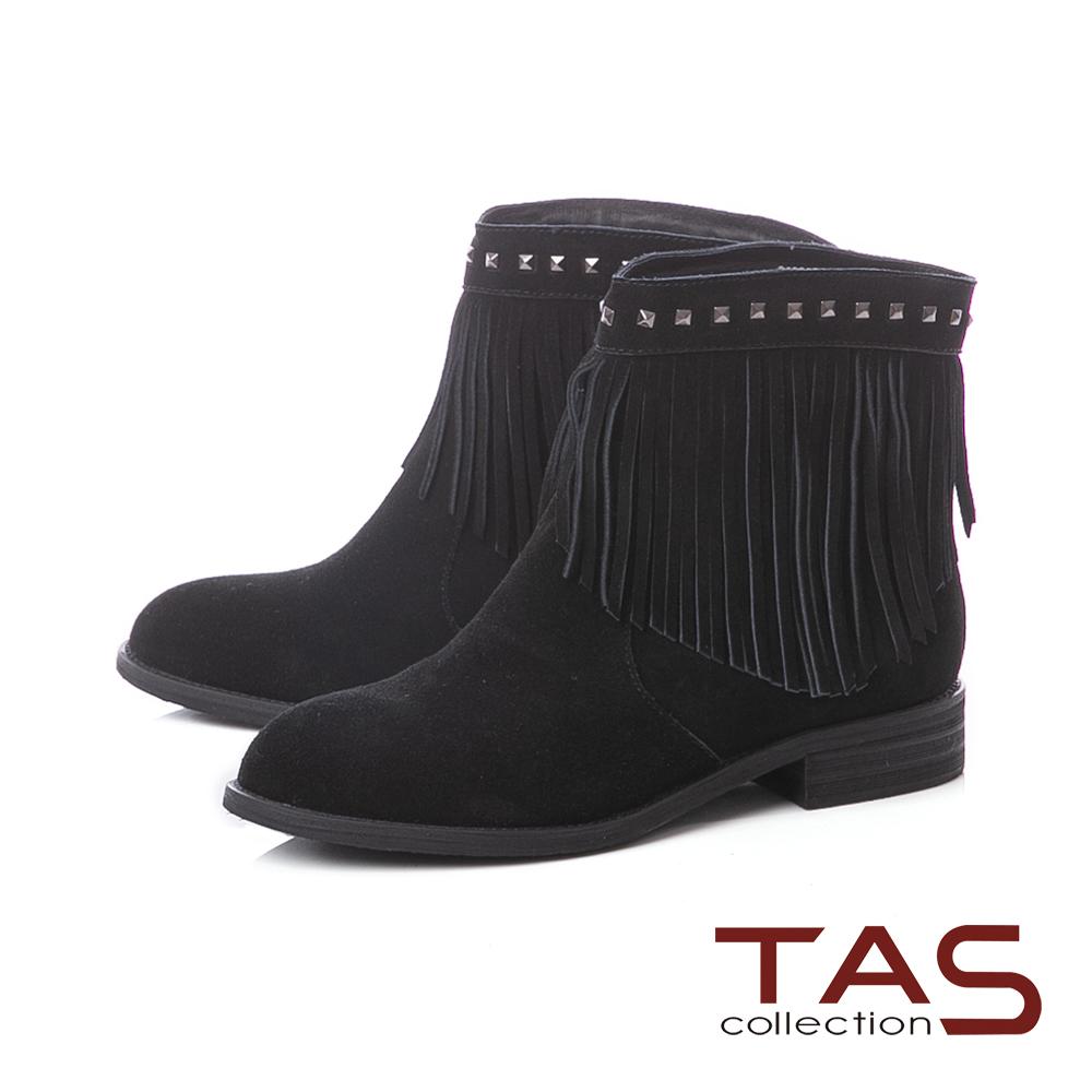 TAS嬉皮風流蘇鉚釘麂皮粗跟短靴–時尚黑