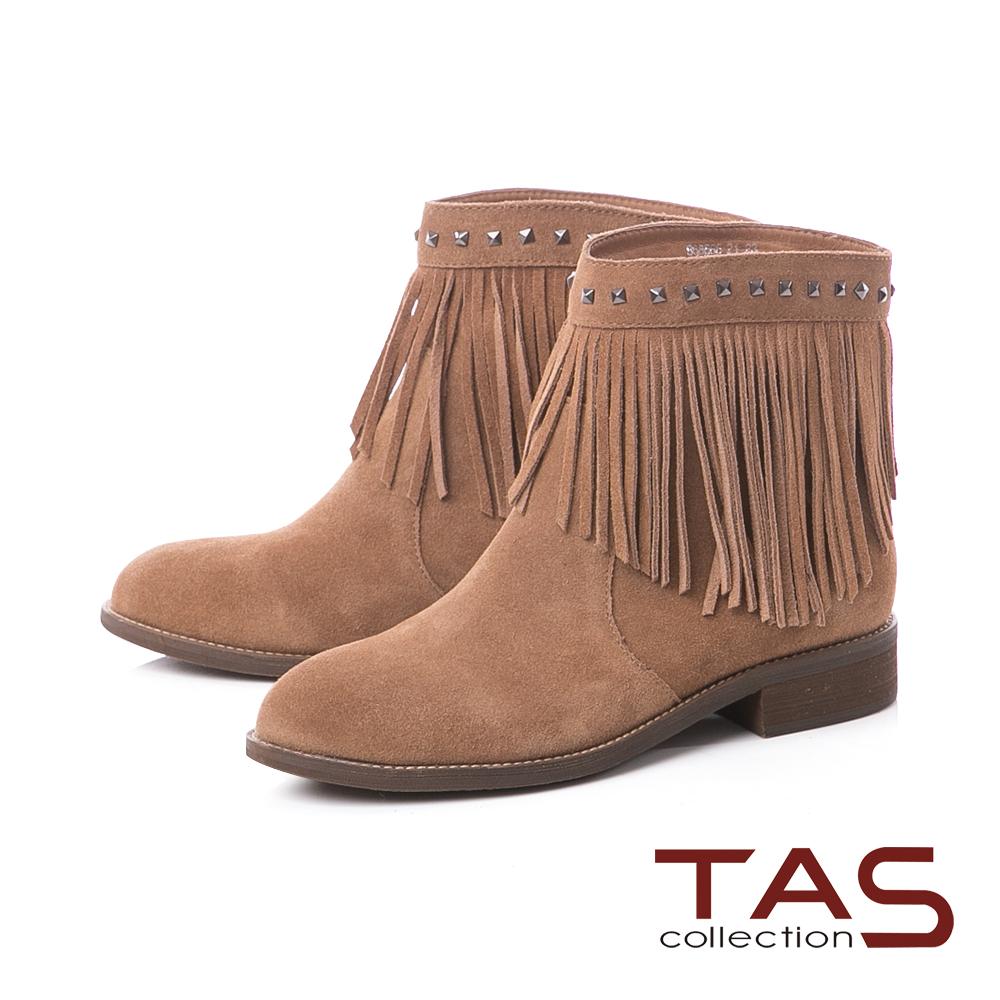 TAS嬉皮風流蘇鉚釘麂皮粗跟短靴–深卡其