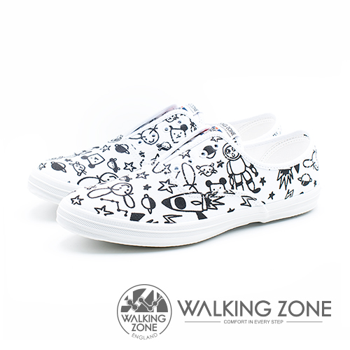 WALKING ZONE X Kellykiwi 夢想太空人 塗鴉親子鞋(男/女/童 款)-白