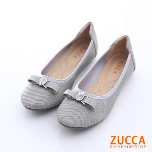 ZUCCA【z6512gy】圓頭金屬朵結氣墊平底鞋-灰色
