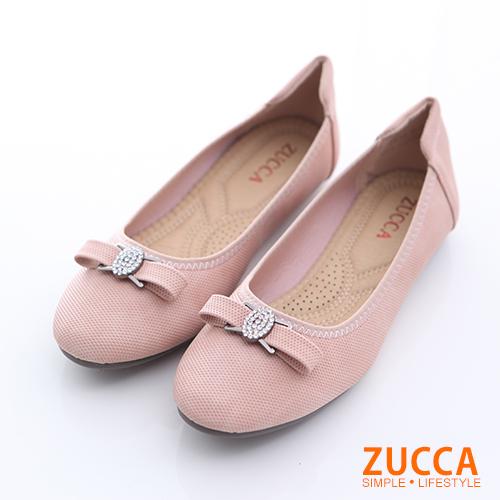 ZUCCA【z6512pk】圓頭金屬朵結氣墊平底鞋-粉色