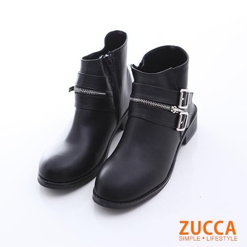 ZUCCA【z6514bk】皮革雙扣拉鍊低跟靴-黑色