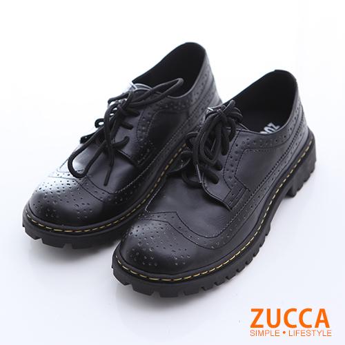 ZUCCA【z6516bk】經典皮革綁繩紳士鞋-黑色