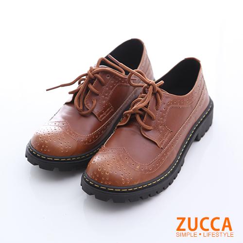 ZUCCA【z6516lc】經典皮革綁繩紳士鞋-駝色