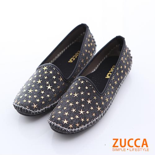 ZUCCA【z6518bk】軟面皮革星紋平底鞋-黑色