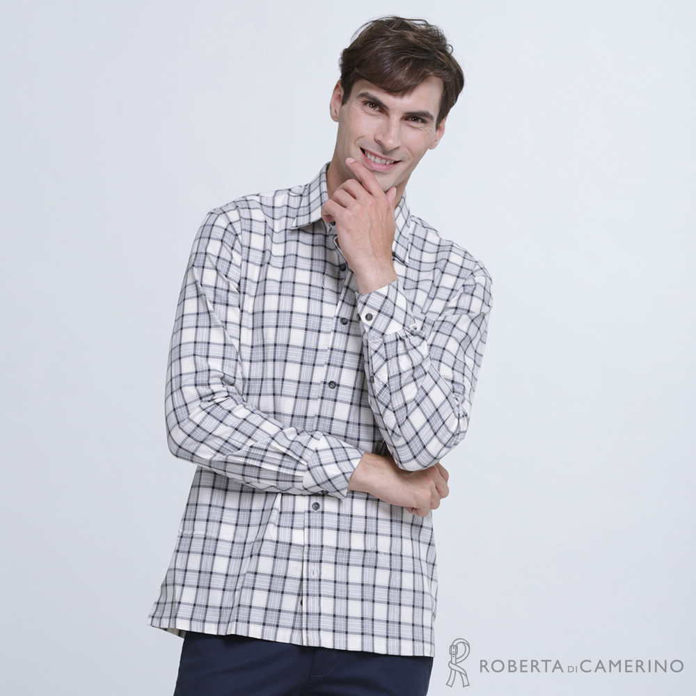 ROBERTA諾貝達 台灣製 經典格紋 純棉長袖襯衫  灰色