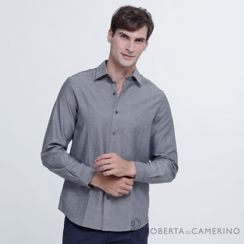 ROBERTA諾貝達 清爽休閒 合身版 純棉長袖襯衫 灰色