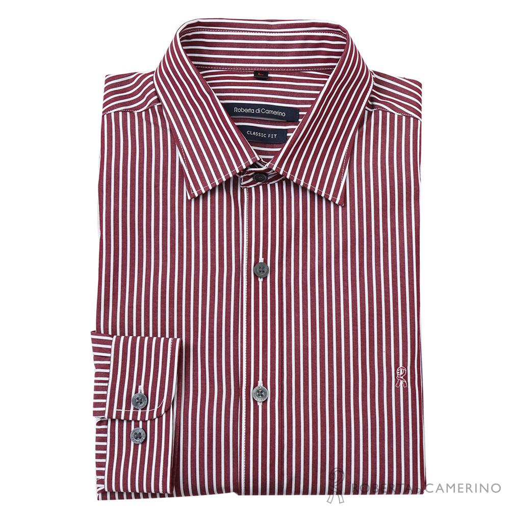 ROBERTA諾貝達 獨特迷人 合身版 純棉直條紋長袖襯衫 磚紅