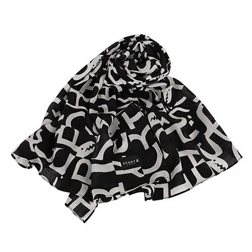 agnes b. -  SPORT b.系列滿底恐龍logo薄圍巾/披巾(黑/白)