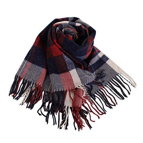agnes b. - SPORT b. 紅藍白格紋羊毛流蘇大披肩