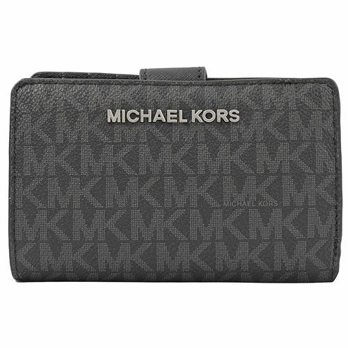 MICHAEL KORS 滿版小MK圖案防刮皮革扣式零錢中夾.黑