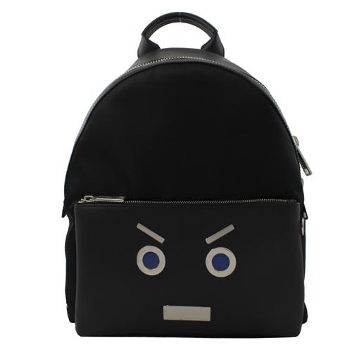 Fendi MONSTER 可愛表情皮革拼接雙肩後背包.黑