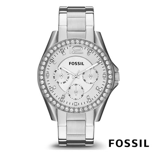 FOSSIL 典藏皇室點鑽鋼帶石英女錶(ES3202)-白色x38mm