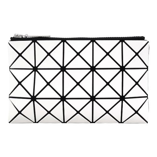 ISSEY MIYAKE 三宅一生 BAOBAO 3x5幾何方格長型亮面零錢手拿包-白