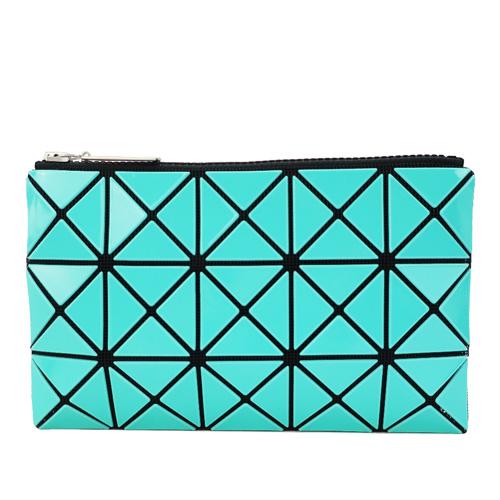 ISSEY MIYAKE 三宅一生 BAOBAO 3x5幾何方格長型亮面零錢手拿包-湖水綠