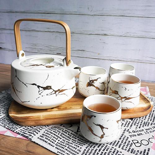 【Homely Zakka】 北歐時尚大理石陶瓷茶壺杯托盤套組(白色)