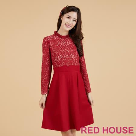 Red House 蕾赫斯 蕾絲拼接洋裝(紅色)
