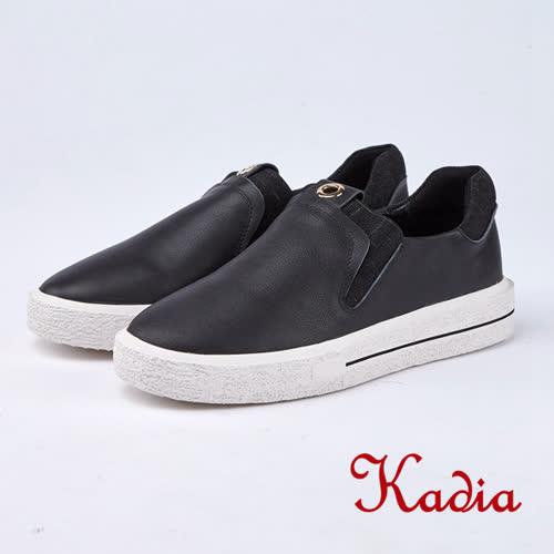 kadia.懶人鞋-質感素面牛皮休閒鞋(8523-90黑色)