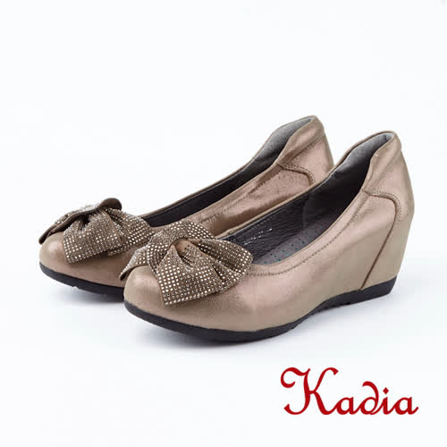 kadia.優雅舒適蝴蝶結楔型鞋(8534-81香檳色)