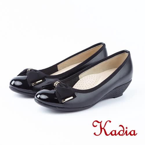 kadia.優雅氣質-漆皮蝴蝶結圓頭包鞋(8541-90黑色)