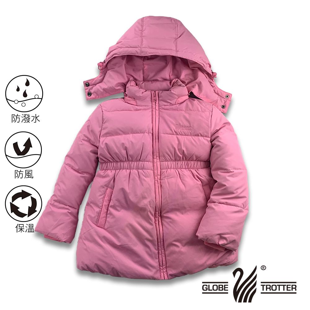 【遊遍天下】童款中長版公主風防風防潑90%羽絨可拆連帽外套GJ22018粉色