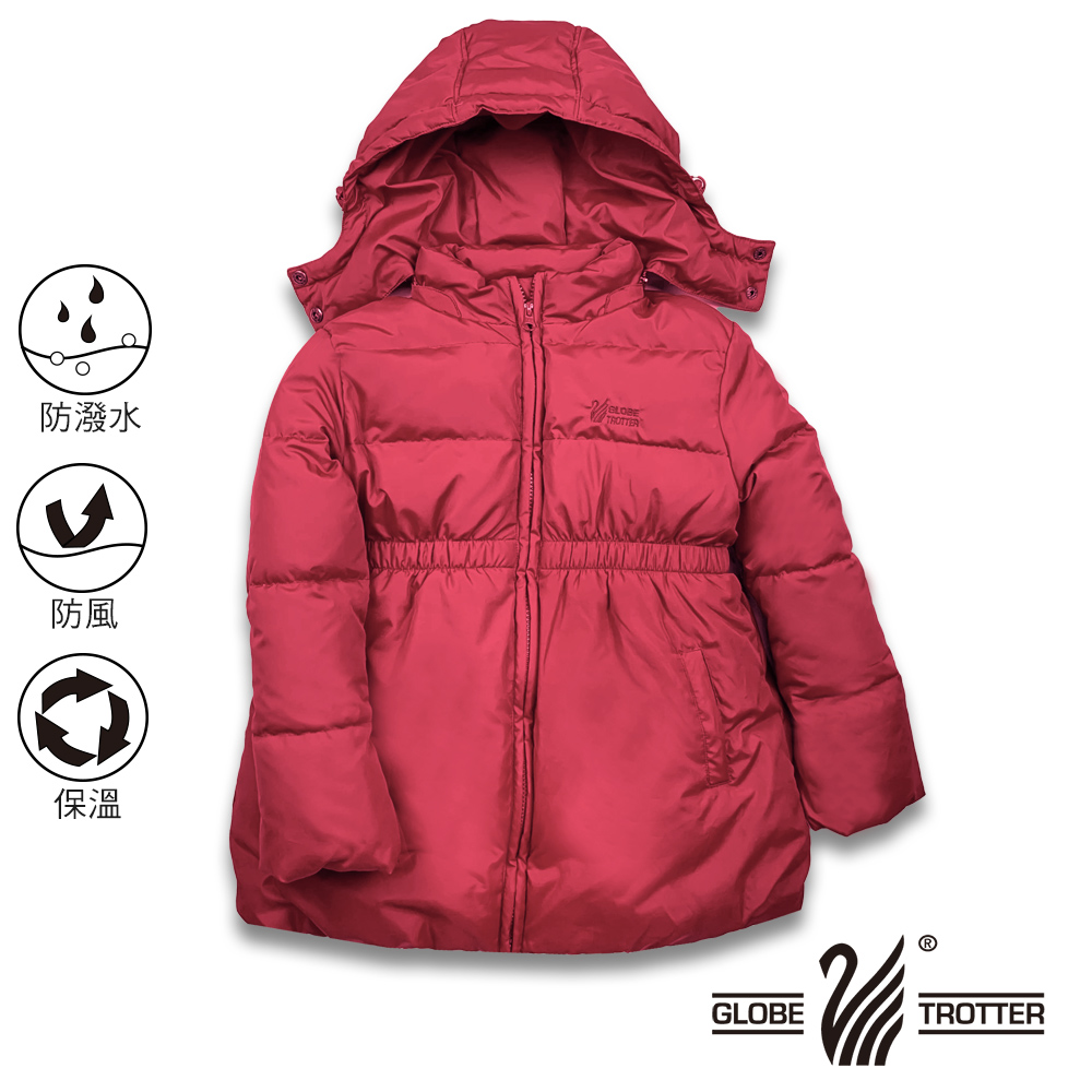【遊遍天下】童款中長版公主風防風防潑90%羽絨可拆連帽外套GJ22018紅色