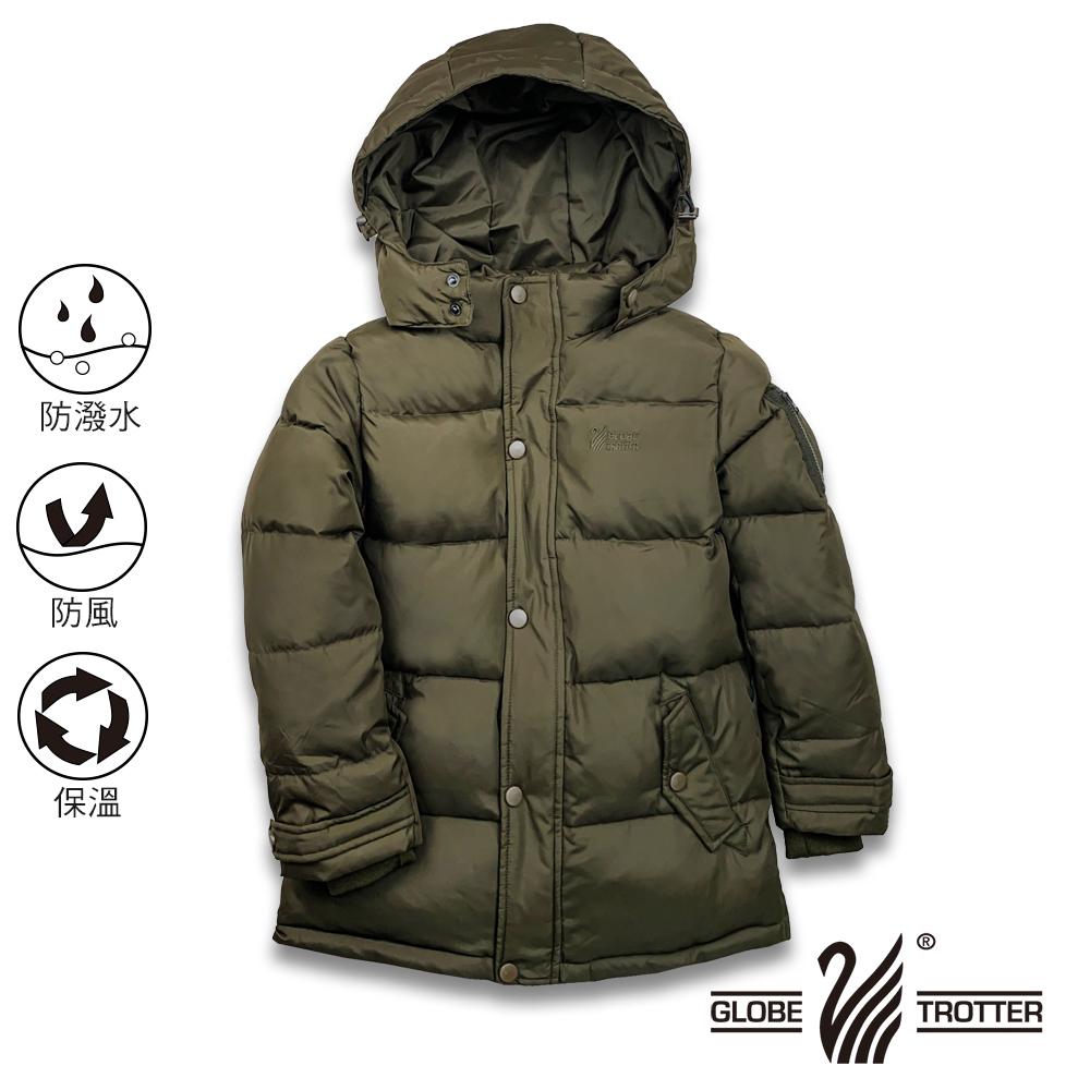 【遊遍天下】童款中長版防風防潑水90%羽絨可拆連帽外套GJ22019軍綠