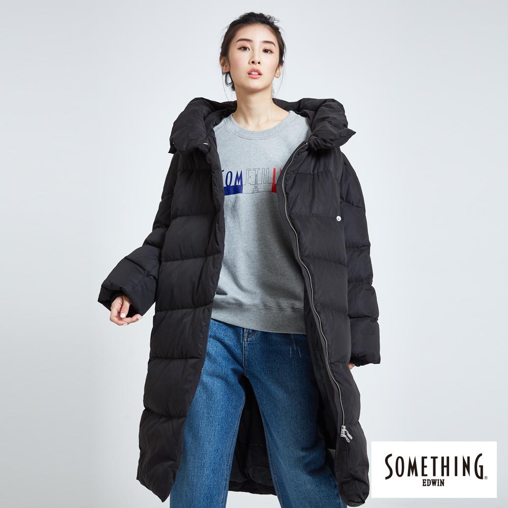 SOMETHING 防風長版羽絨外套-女-黑色