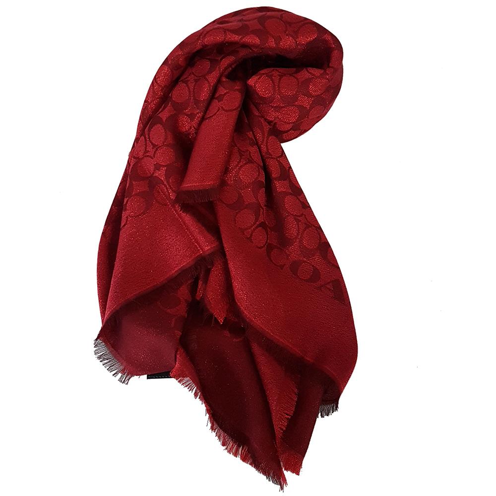 COACH 經典LOGO銀絲線流蘇披肩/圍巾-紅色