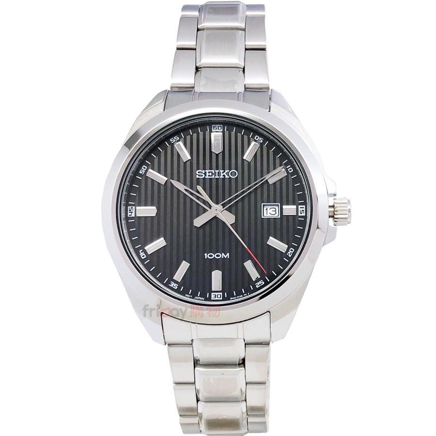 SEIKO 精工表 SUR277P1 經典時尚 直條紋黑面日期 100M防水 鋼帶 男錶