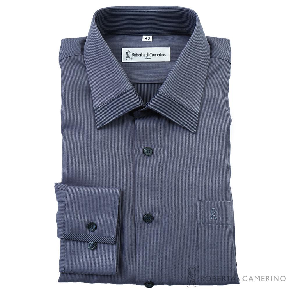 ROBERTA諾貝達 台灣製 抗皺免燙 柔感條紋長袖襯衫 灰色