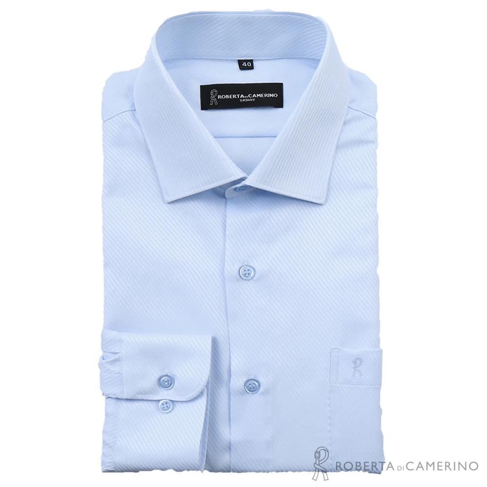 ROBERTA諾貝達 台灣製 吸濕排汗 合身版 柔感長袖襯衫 淺藍