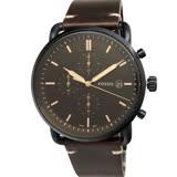 FOSSIL 手錶 FS5403 復古簡約文青風 三眼計時 42mm 深咖啡面 咖啡色皮帶 男錶