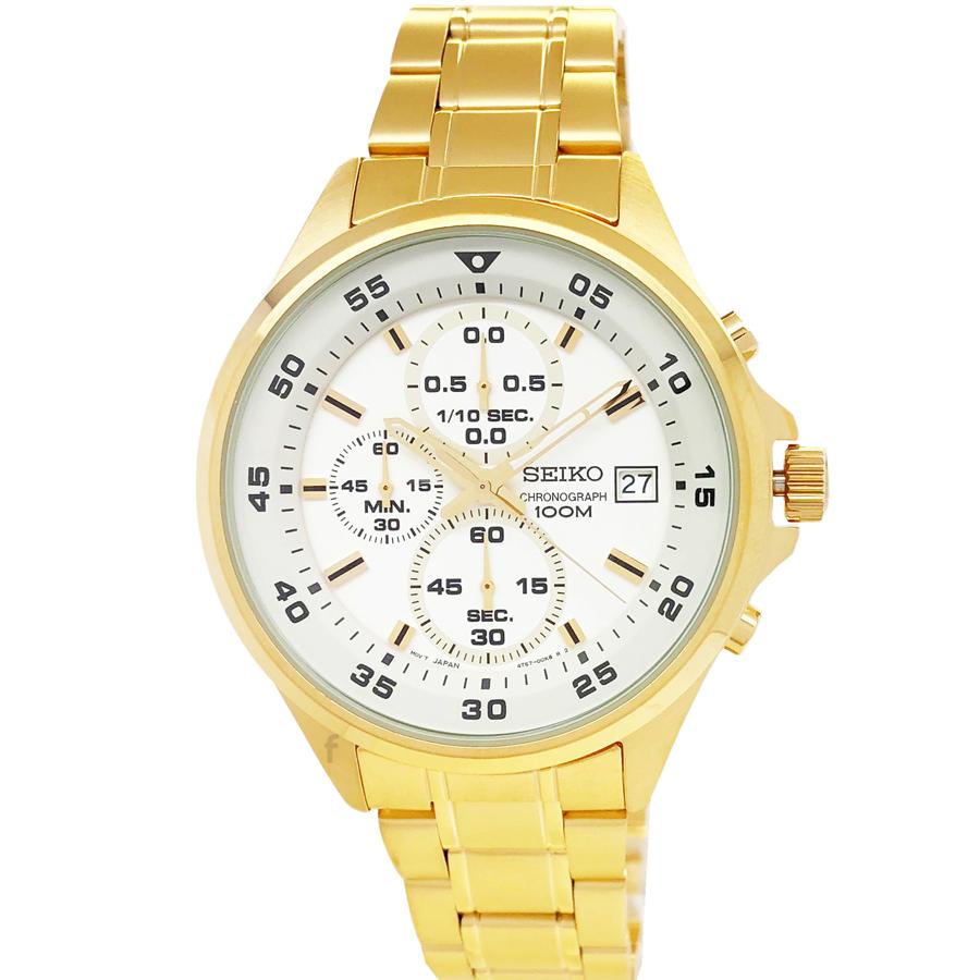 SEIKO 手錶 SKS632P1 精工表 IP金 日期 三眼計時 鋼帶 男錶