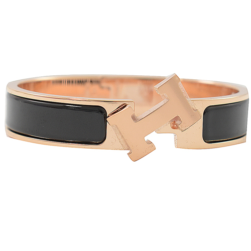 HERMES 經典Clic H LOGO 琺瑯扣式手環.玫瑰金/黑